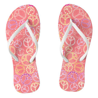 Peace Signs Pattern on Pink Flip Flops