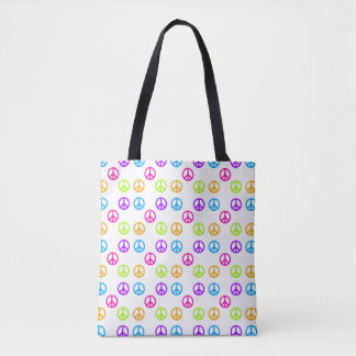 Peace Signs Pattern Tote Bag