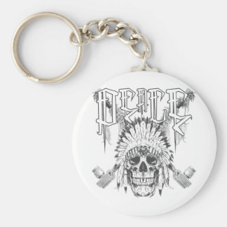 Peace Skull Basic Round Button Keychain