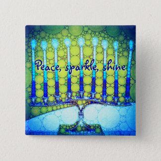 """Peace Sparkle Shine"" Blue Hanukkah Menorah Photo 2 Inch Square Button"