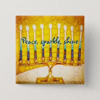 Peace Sparkle Shine, Yellow Hanukkah Menorah Photo 2 Inch Square Button