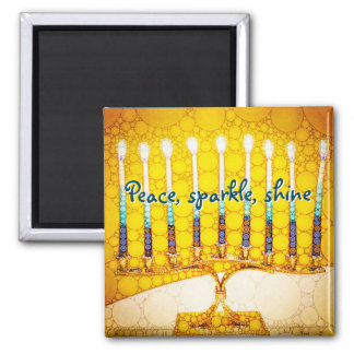 Peace Sparkle Shine, Yellow Hanukkah Menorah Photo Magnet