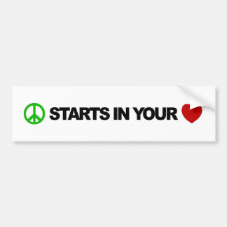 Peace Starts In Your Heart Bumper Sticker