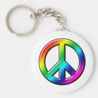 Peace Starts with a Smile Basic Round Button Keychain