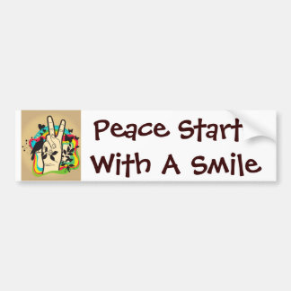 Peace Starts With A Smile Bumper Sticker
