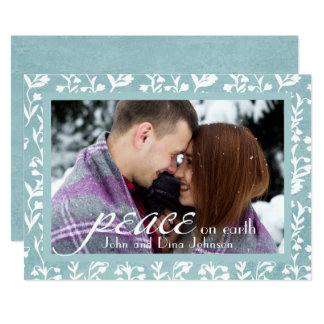 """Peace"" Stylish Calligraphy Holiday Photo Card"