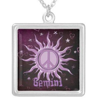 Peace Sun Gemini Silver Plated Necklace