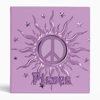 Peace Sun Pisces 3 Ring Binder