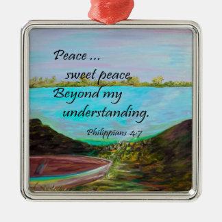Peace Sweet Peace Silver-Colored Square Ornament
