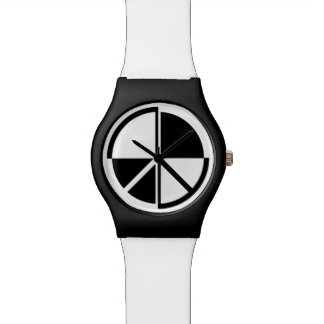 Peace Symbol Black And White Watch