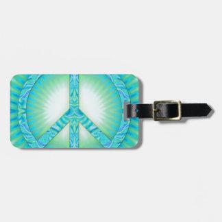 Peace Symbol Blue-Greens Bag Tags