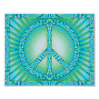 Peace Symbol Blue-Greens Poster