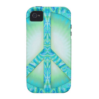 Peace Symbol Blue-Greens Vibe iPhone 4 Case