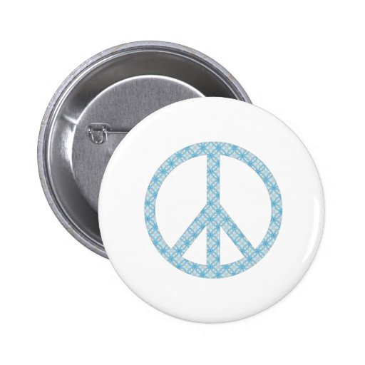Peace Symbol Blue Patterned Pins