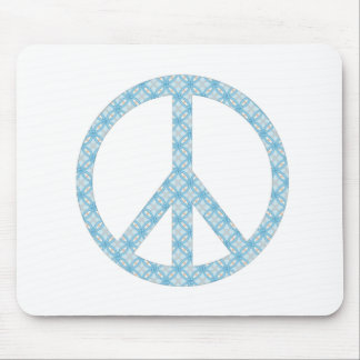 Peace Symbol Blue Patterned Mouse Pad