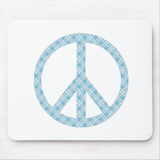 Peace Symbol Blue Patterned Mouse Pad