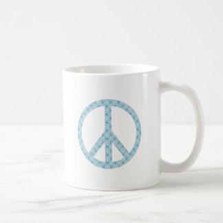 Peace Symbol Blue Patterned Mug