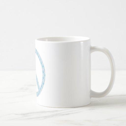 Peace Symbol Blue Patterned Coffee Mug
