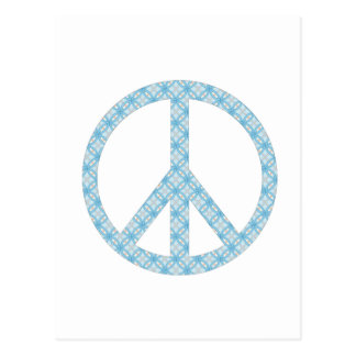 Peace Symbol Blue Patterned Post Cards