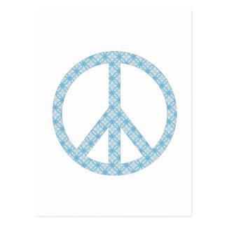 Peace Symbol Blue Patterned Postcard