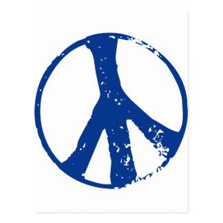 Peace symbol,blue postcard