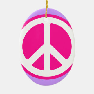 Peace Symbol Ceramic Oval Ornament