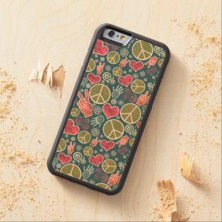 Peace Symbol Design Pattern Carved Maple iPhone 6 Bumper Case