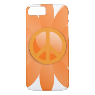Peace Symbol Flower - Cantelope Orange iPhone 7 Case