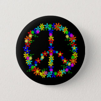 Peace symbol flower power 2 inch round button