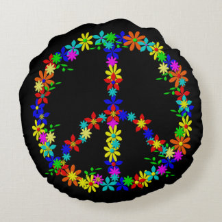 Peace symbol flower power round pillow