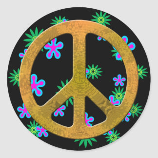 Peace Symbol Flower Retro 60s Stickers