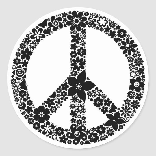 Peace Symbol flowers Classic Round Sticker