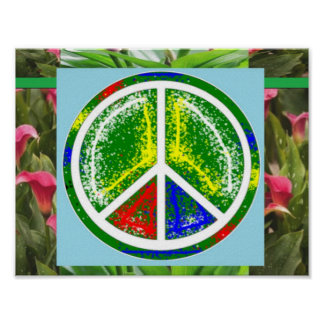 PEACE SYMBOL Green  Art Decorations Posters