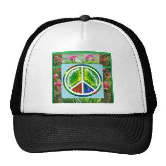 PEACE SYMBOL :  Green Artistic Flowers Trucker Hat