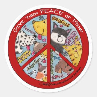 Peace Symbol-Humane Round Sticker