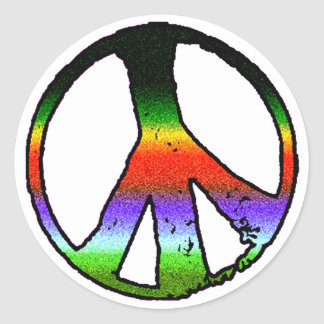 Peace Symbol in Rainbow Glitter Classic Round Sticker