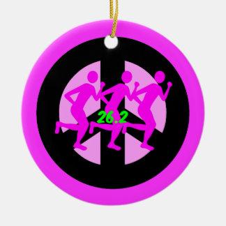 Peace symbol marathon ceramic ornament