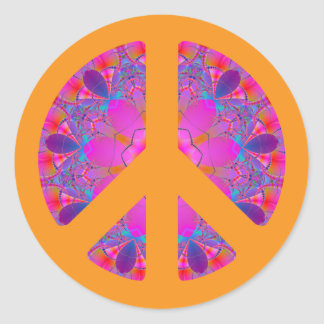 Peace Symbol psychedelic sticker