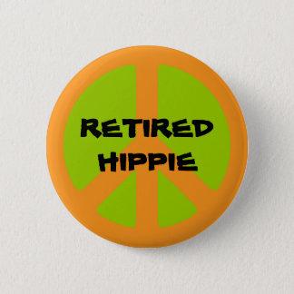 Peace Symbol, Retired Hippie, pinback button. 2 Inch Round Button