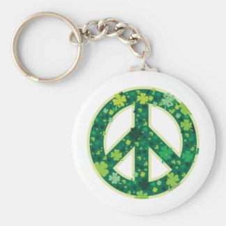 Peace Symbol Shamrock Keychain
