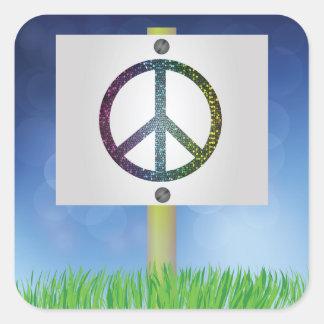 peace symbol square sticker