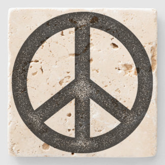 Peace Symbol Stone Beverage Coaster