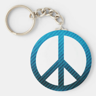Peace Symbol Striped Blue Basic Round Button Keychain