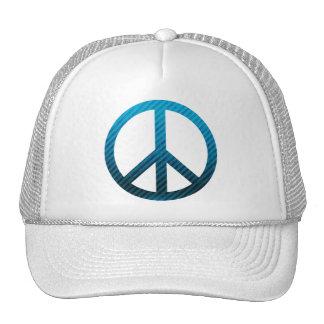 Peace Symbol Striped Blue Trucker Hat