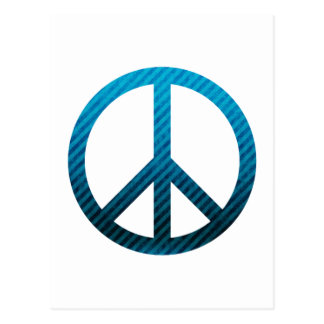 Peace Symbol Striped Blue Postcard