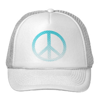 Peace Symbol Striped Light Blue Trucker Hat