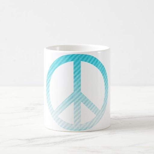 Peace Symbol Striped Light Blue Coffee Mug