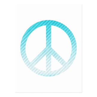Peace Symbol Striped Light Blue Post Cards