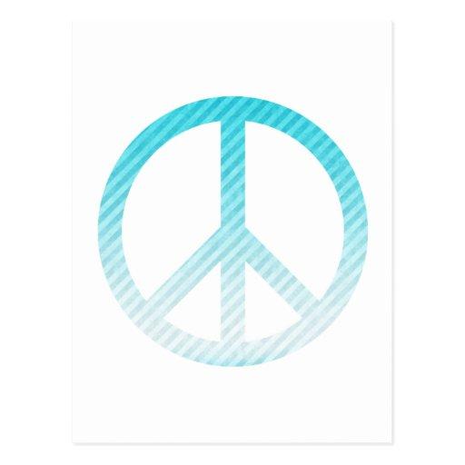 Peace Symbol Striped Light Blue Post Cards