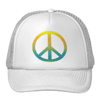 Peace Symbol Striped Yellow and Blue Trucker Hats